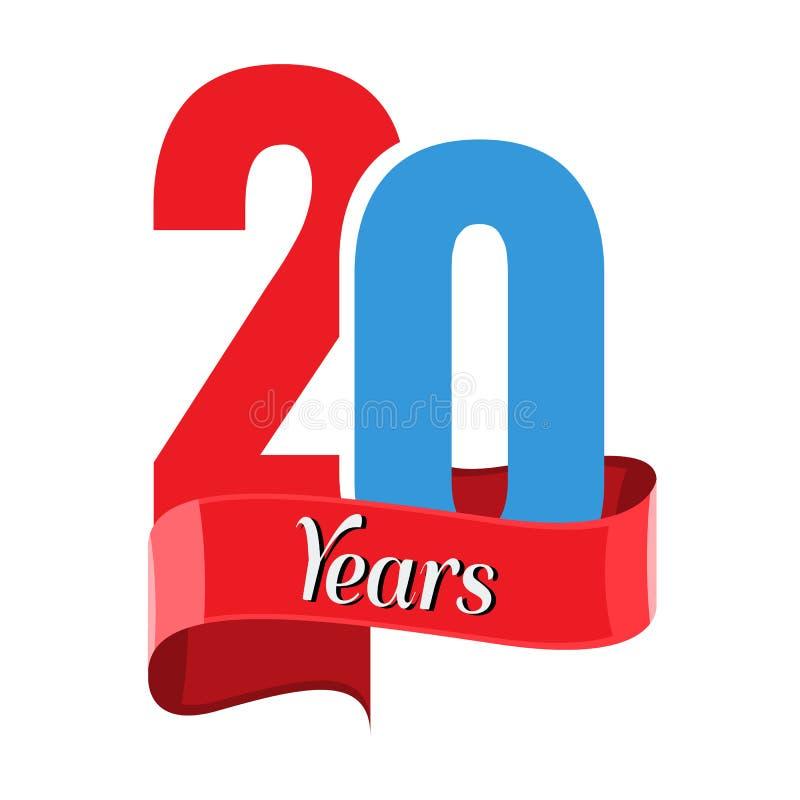 20年与红色丝带的周年商标 平的样式传染媒介 库存例证