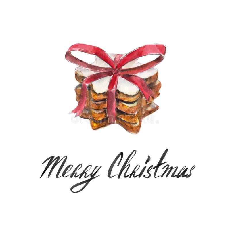 与红色丝带的曲奇饼在白色背景隔绝的堆,弓和字法`圣诞快乐`,水彩例证 皇族释放例证