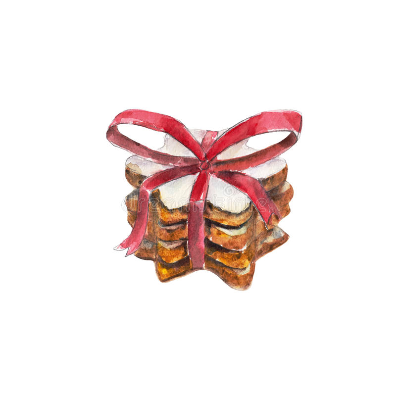 与红色丝带的曲奇饼堆和在白色背景,水彩例证的一把弓 库存例证
