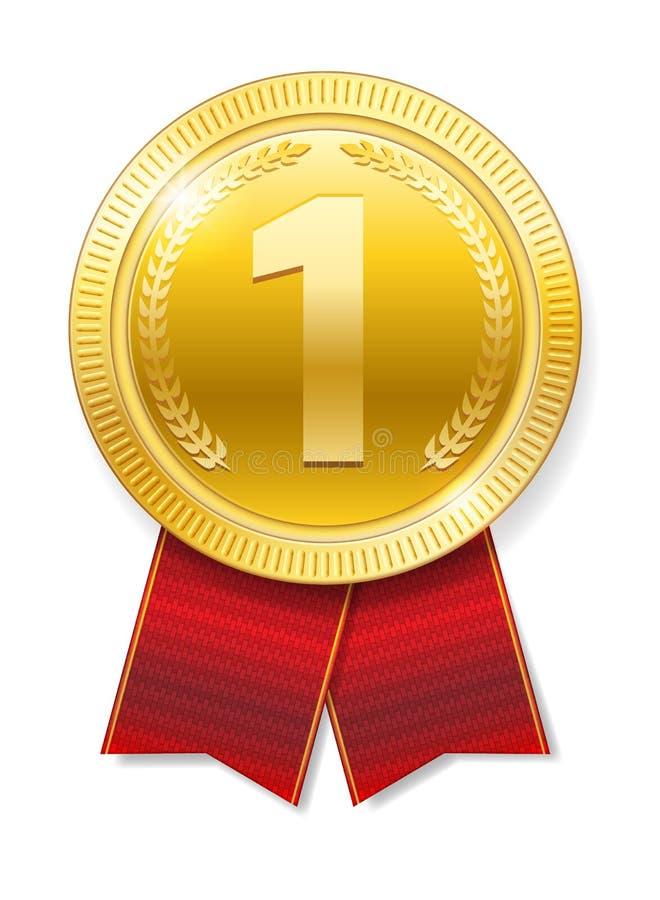 与红色丝带的现实金牌优胜者的被隔绝 荣誉奖 也corel凹道例证向量 向量例证