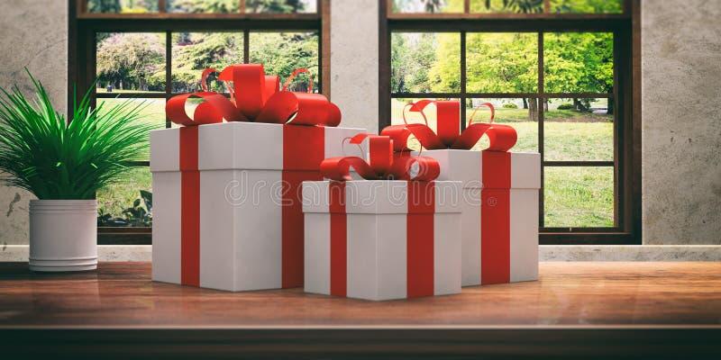 与红色丝带的礼物在一张木书桌上 3d例证 库存例证