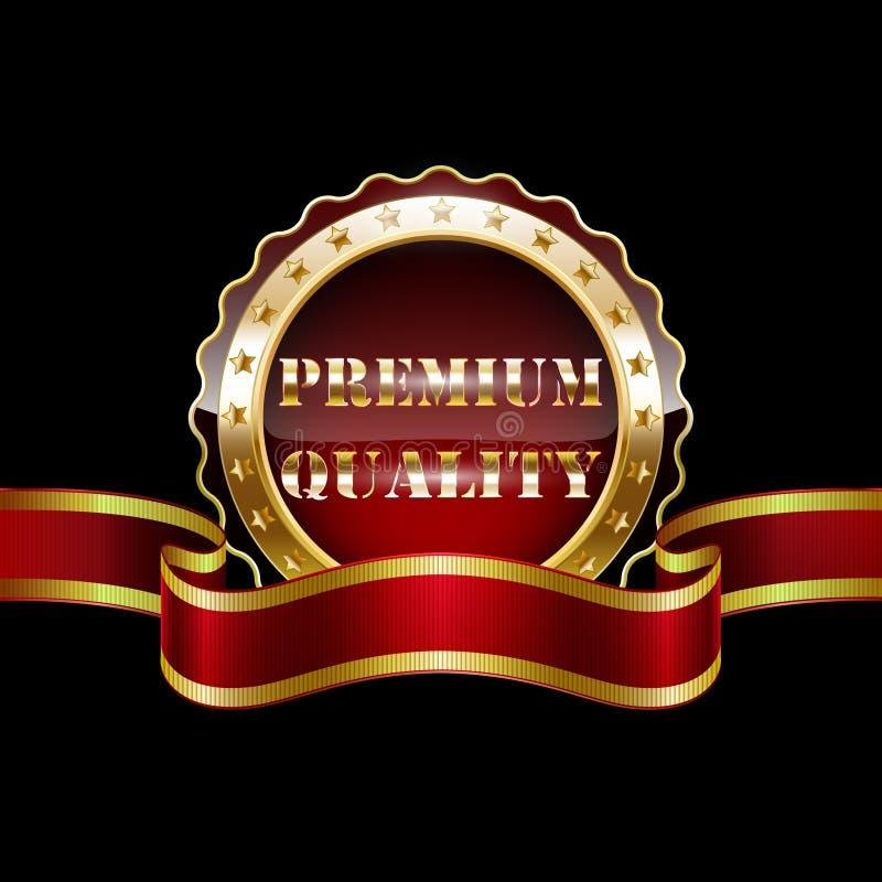 与红色丝带的金子优质质量徽章 向量例证