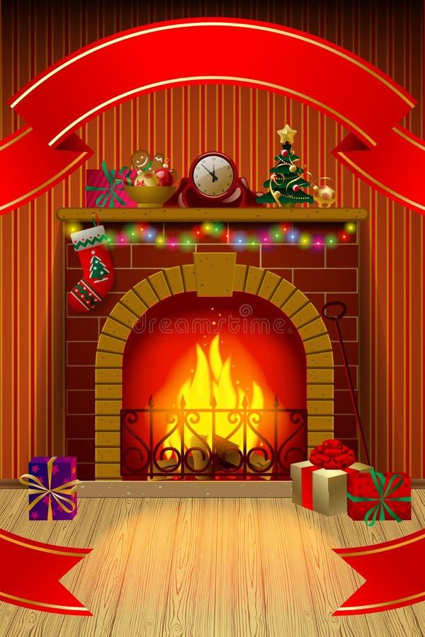 与红色丝带,在内部,假日d的壁炉的圣诞卡 库存例证