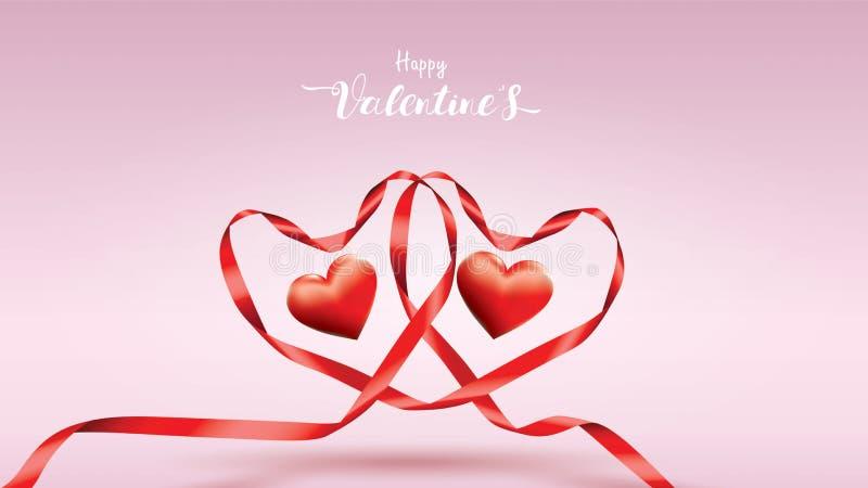 与红色丝绸丝带和形状心脏甜颜色的美好的情人节背景 逗人喜爱和一起设计观念 皇族释放例证