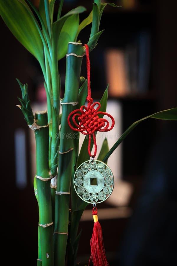与红色中国魅力封印的绿色竹子在被弄脏的背景 库存图片