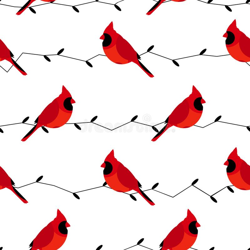 与红色主教和分支的无缝的样式 平的设计样式 向量背景 皇族释放例证