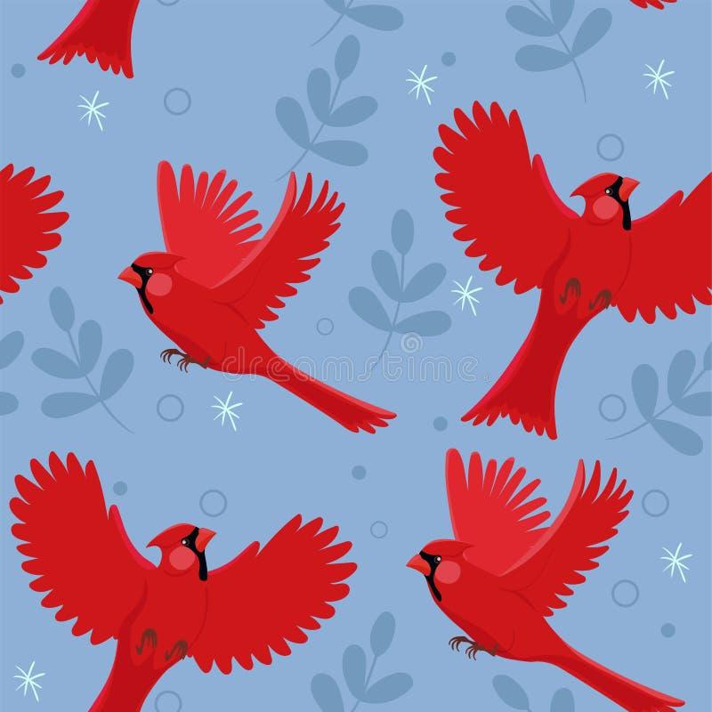与红色主要鸟和小的叶子的无缝的样式 r 向量例证
