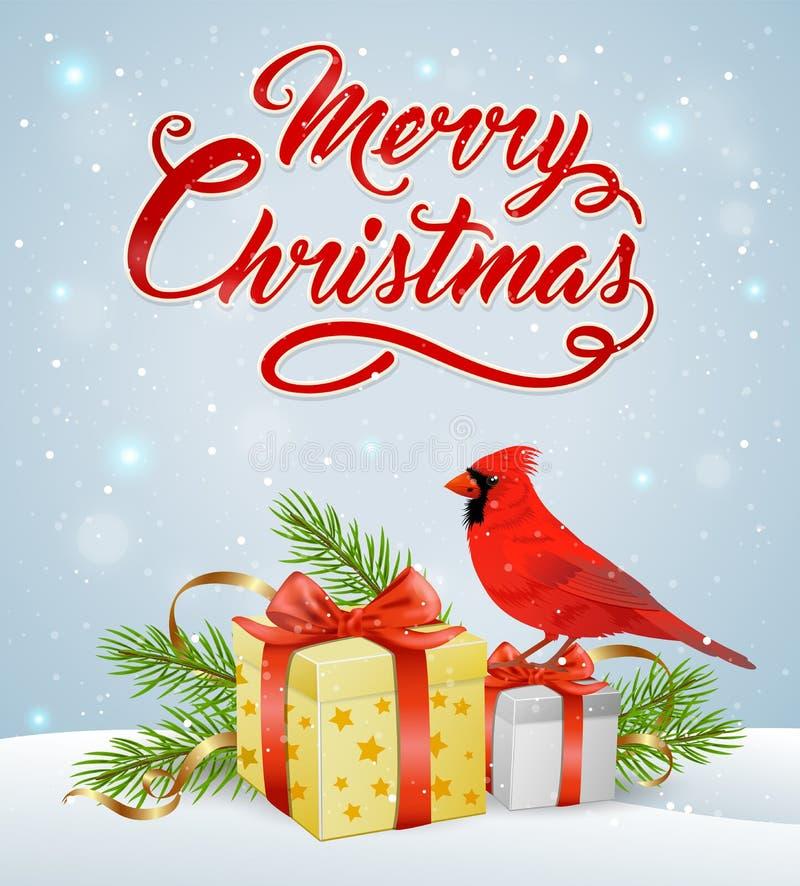 与红色主要鸟的圣诞节背景 皇族释放例证