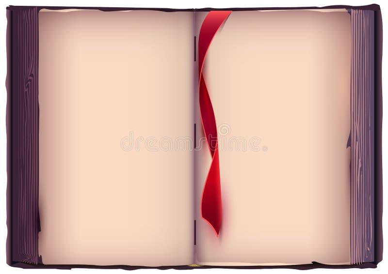 与红色书签的开放书 老页模板 库存例证
