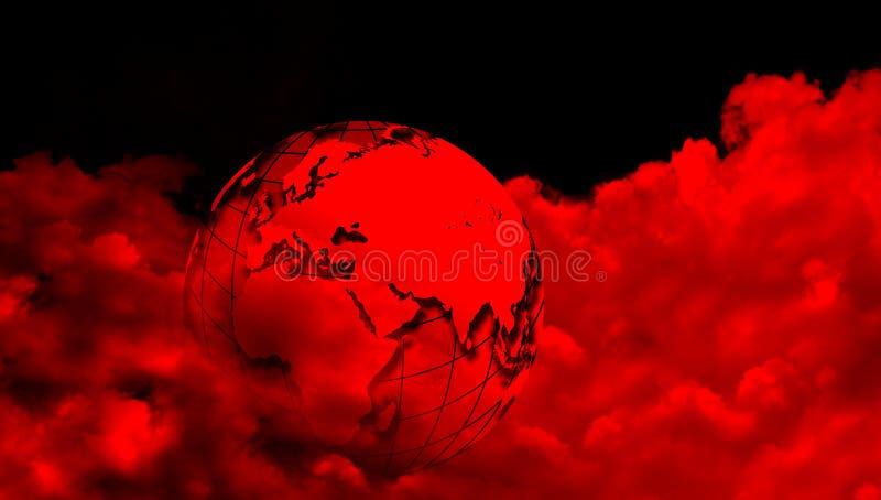 与红色云彩的世界地球 在多云背景的世界地球 向量例证