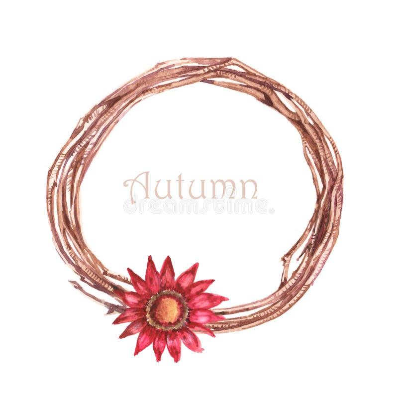 与红色五颜六色的花的手拉的水彩秋天花圈对此 免版税库存照片