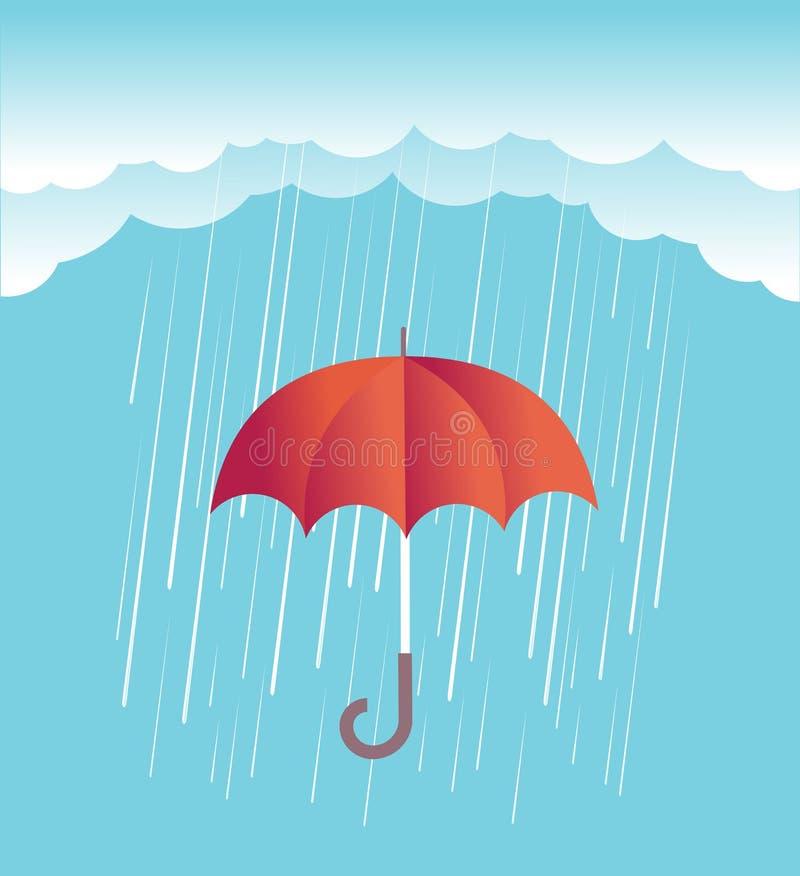 与红色伞的雨云 传染媒介春天天空 皇族释放例证