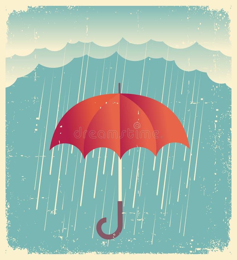 与红色伞的雨云 在老纸的葡萄酒海报 库存例证