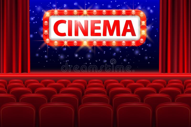 与红色位子的现实戏院大厅内部 与斑点光框架的减速火箭的样式戏院标志 电影首放海报 向量例证
