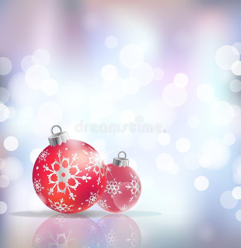 与红色假日球的欢乐冬天背景反对银色欢乐光,传染媒介背景 向量例证