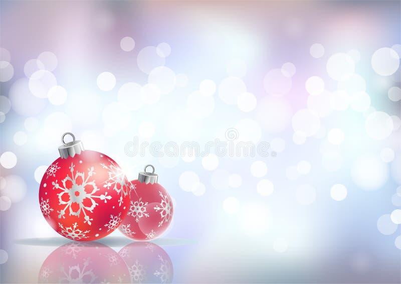 与红色假日球的欢乐冬天背景反对银色欢乐光,传染媒介背景 库存例证