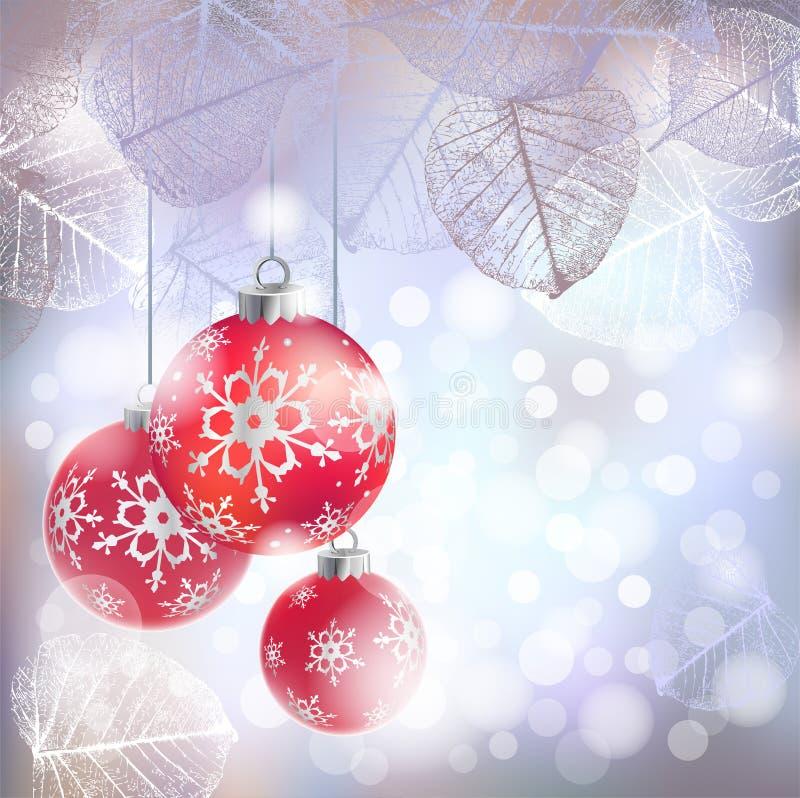 与红色假日球的欢乐冬天背景反对bokeh树冰叶子光和框架  库存例证