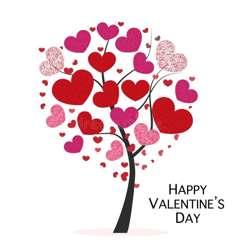 与红色光亮的闪闪发光心脏的心脏树 招呼看板卡的日愉快的s华伦泰 库存例证