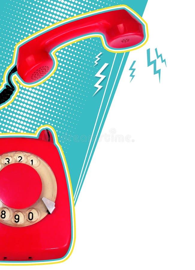 与红色减速火箭的电话的减速火箭的拼贴画在蓝色背景 库存图片