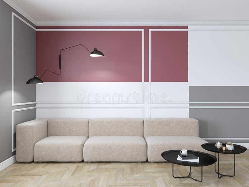 与红色几何印刷品的空的内部在墙壁上 沙发、咖啡桌和木地板 皇族释放例证