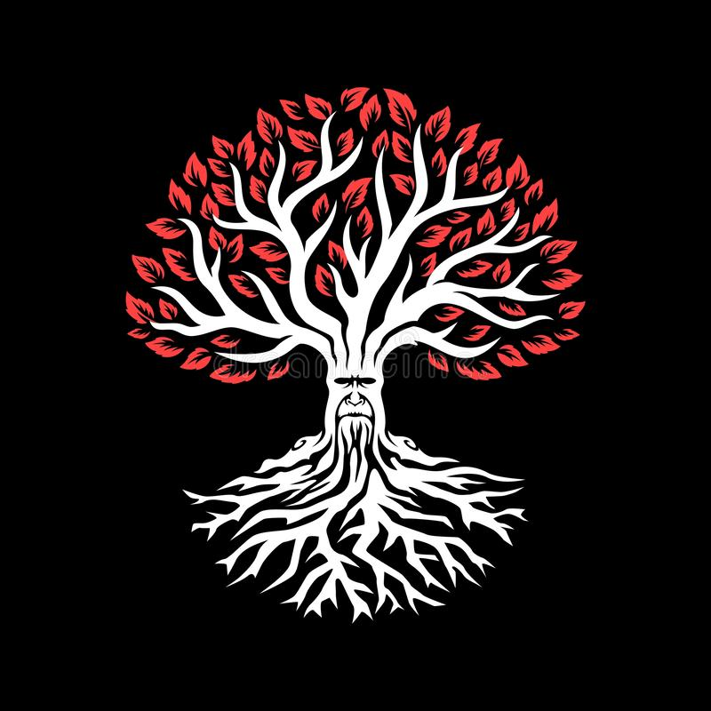 与红色叶子的老白色树 附加的eps10幻想文件树 库存例证