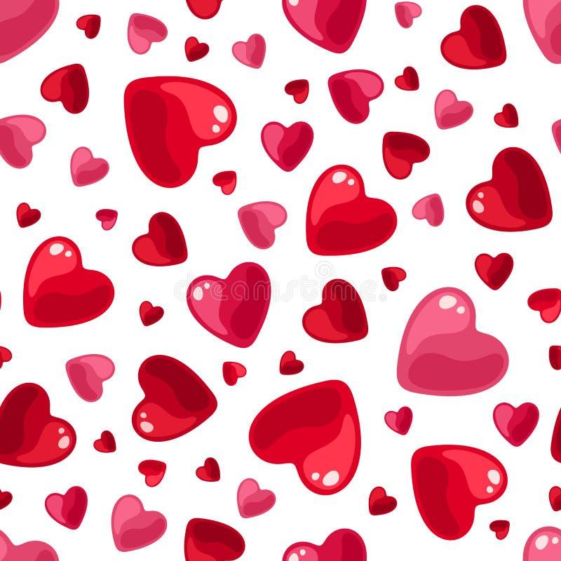 与红色和桃红色心脏的无缝的样式 也corel凹道例证向量 库存例证
