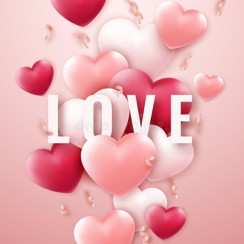 与红色和桃红色心脏,丝带的情人节背景 假日在轻的背景的卡片例证 皇族释放例证