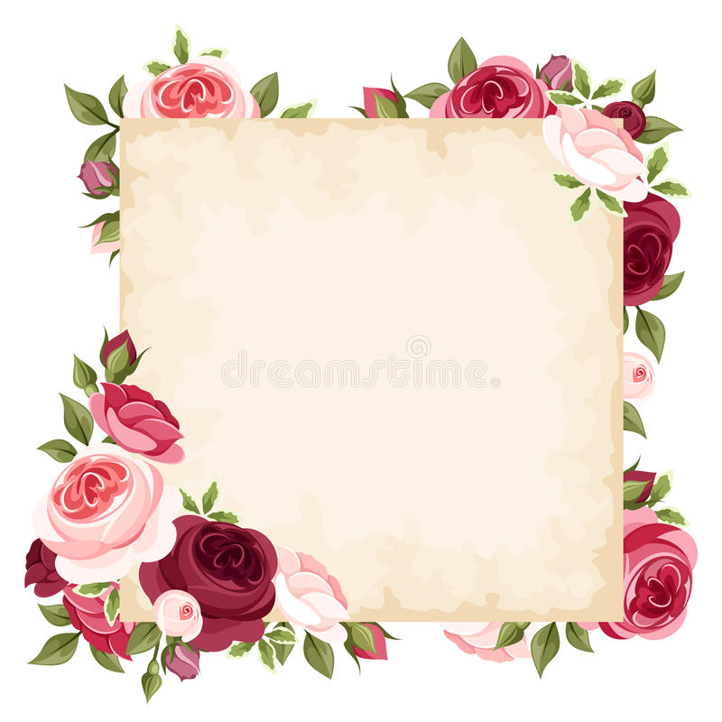 与红色和桃红色玫瑰的传染媒介卡片 库存例证