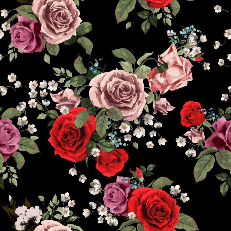 与红色和桃红色玫瑰的无缝的花卉样式在黑backgro 向量例证