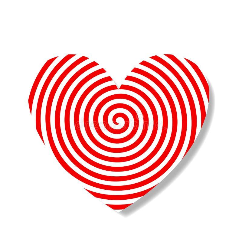 与红色和白色目标样式的大心脏邮票 库存例证