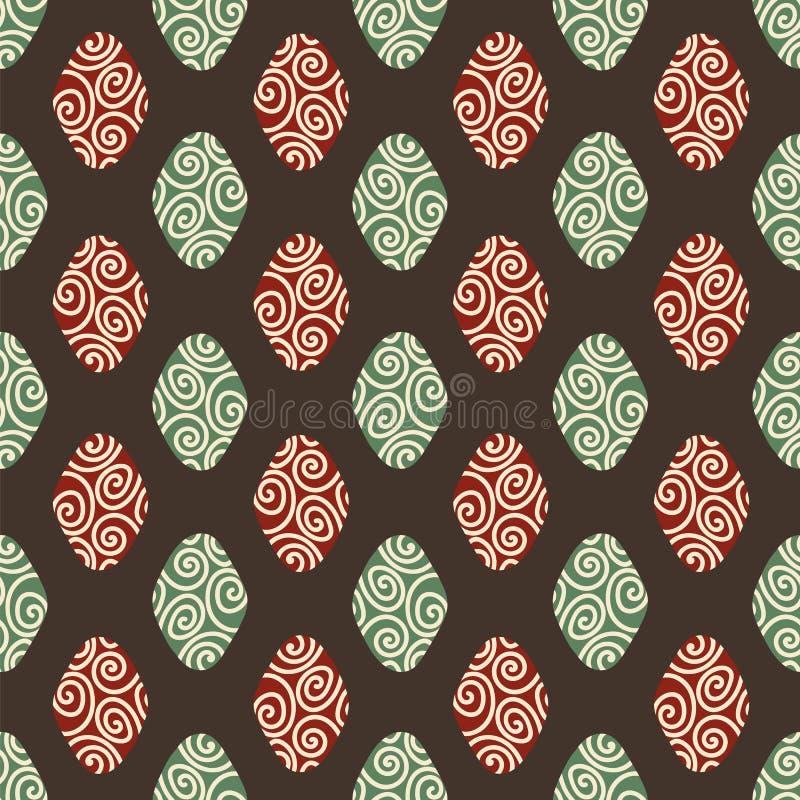 与红色和绿色金刚石形状的无缝的几何传染媒介样式在黑暗的背景 向量例证