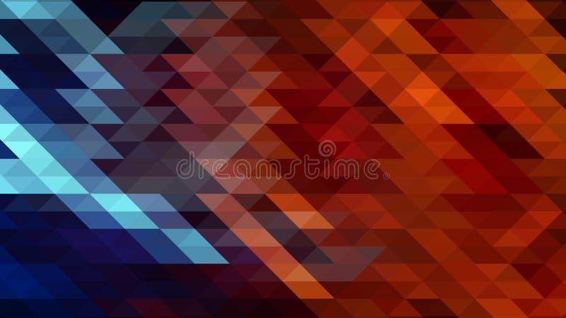 与红色和蓝色三角的抽象几何背景 免版税库存图片