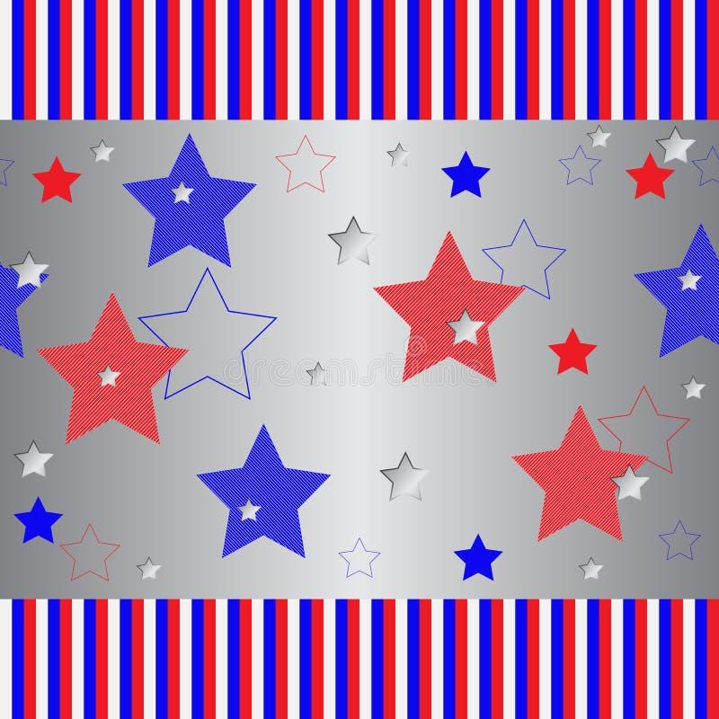 与红色和蓝色五针对性的星的无缝的镶边和银色样式 向量例证