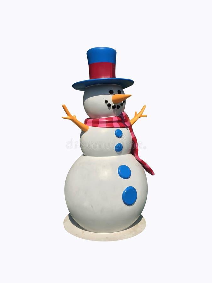 与红色和蓝色帽子的雪人和在白色背景隔绝的桃红色围巾 裁减路线 库存照片