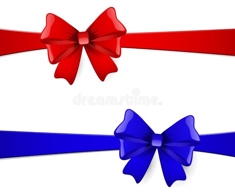 与红色和蓝色弓的圣诞卡片 皇族释放例证
