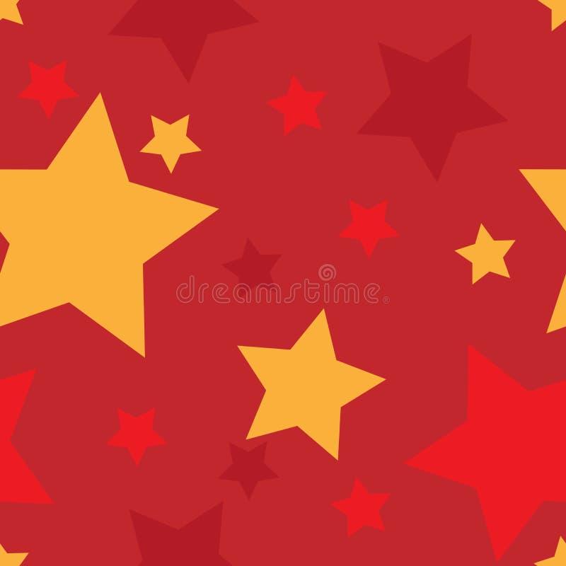 与红色和金黄星的无缝的样式 向量例证