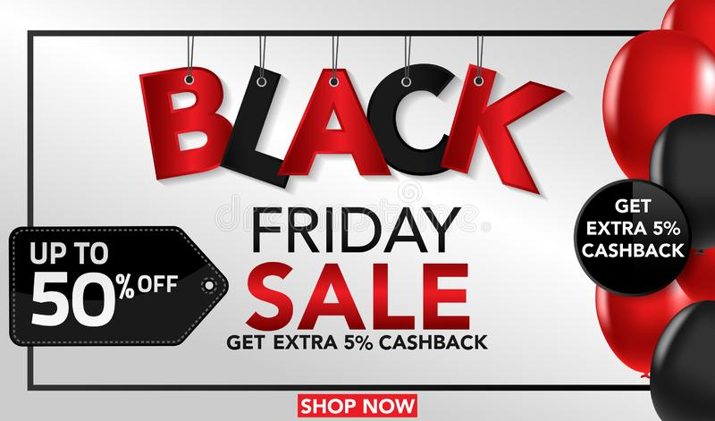 与红色和黑轻快优雅和conffeti的黑星期五销售横幅模板背景 特价优待 季节, b的模板的结尾 库存例证