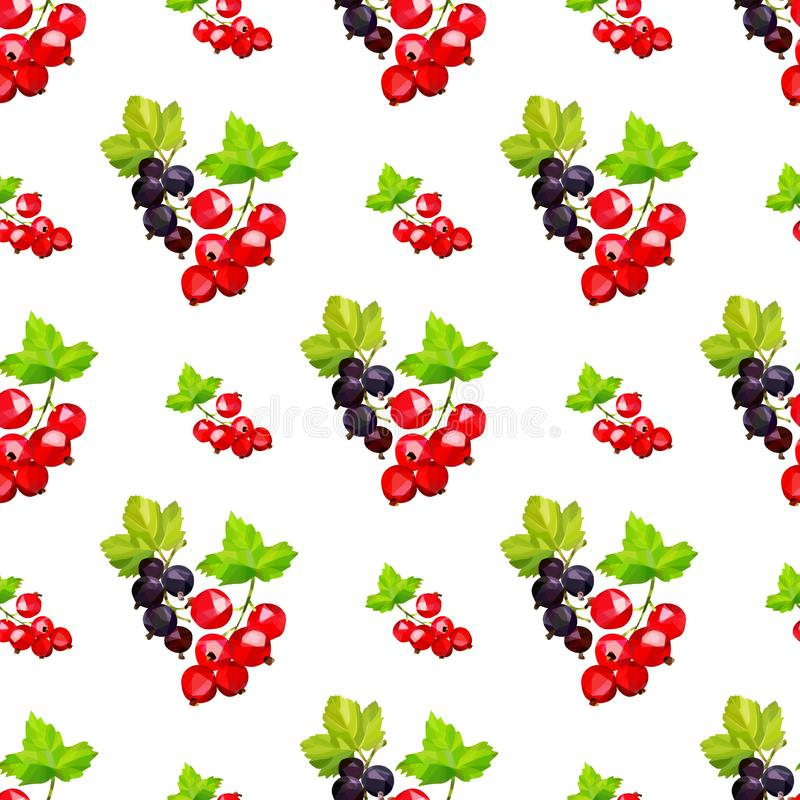 与红色和黑smrodina莓果群的无缝的样式在一个分支的在白色背景的低多样式 库存例证