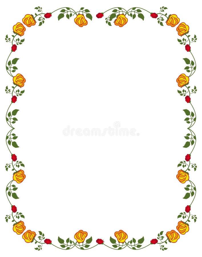 与红色和黄色玫瑰的垂直的框架 向量例证