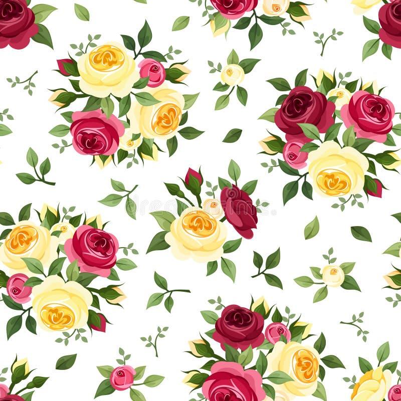 与红色和黄色玫瑰的无缝的样式在白色 也corel凹道例证向量 库存例证