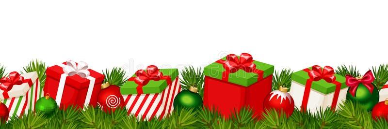 与红色和绿色礼物盒的圣诞节水平的无缝的背景 也corel凹道例证向量 向量例证