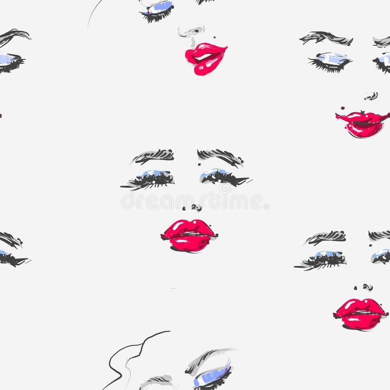 与红色唇膏的手拉的妇女面孔在另外印刷品的心情时尚例证无缝的样式和 皇族释放例证