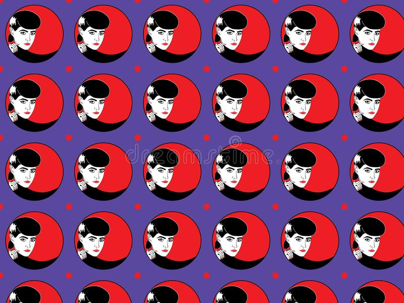 与红色嘴唇和钉子五颜六色的样式的妇女面孔盘旋背景 向量例证