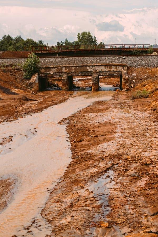 与红色土壤的风景在Karabash,俄罗斯,车里雅宾斯克地区污染了铜采矿的工厂 免版税库存照片