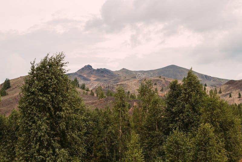 与红色土壤的风景在Karabash,俄罗斯,车里雅宾斯克地区污染了铜采矿的工厂 免版税库存图片