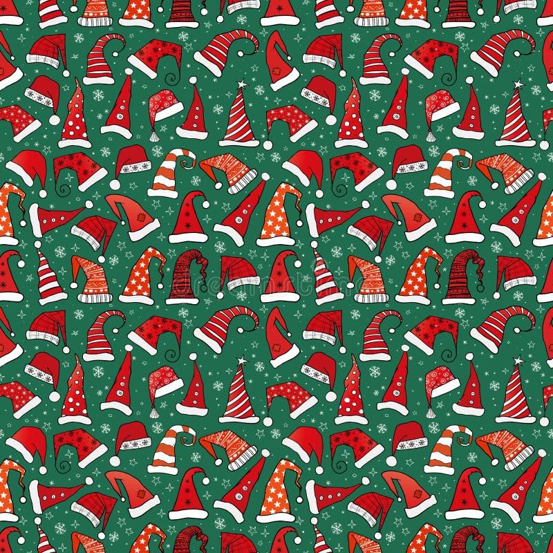 与红色圣诞节圣诞老人帽子的无缝的样式在深绿bac 皇族释放例证