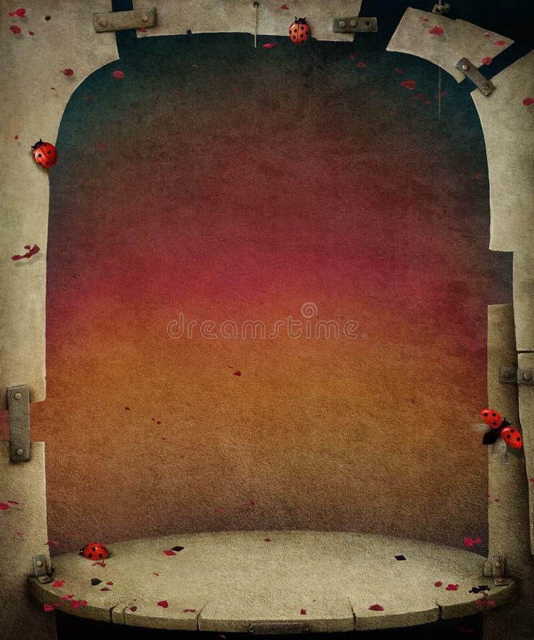 与红色天空和阶段的背景。 皇族释放例证