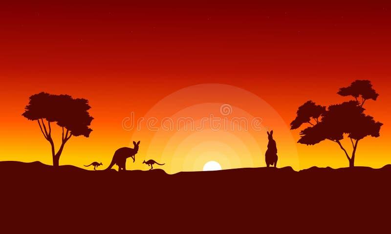 与红色天空风景剪影的袋鼠 皇族释放例证