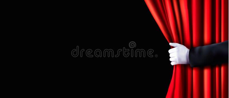 与红色天鹅绒帷幕和手的背景 向量例证