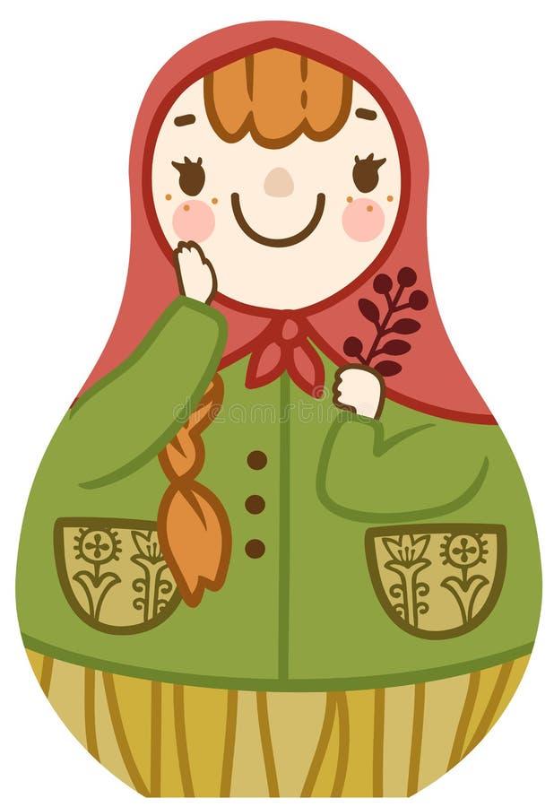 与红色头发微笑的传染媒介动画片逗人喜爱的matrioshka 库存例证